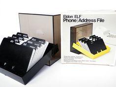 Address File Box 1970s Eldon ELF Smoke Black New by WildPlumTree, $16.50