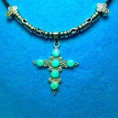 VINTAGE STERLING+Turquoise Cross 57 mm Pendant+On Braided Leather+Silver Cross+Tube Beads+Clasp+SALE 10.00 Off+Free Ship* by TjeansJewelry on Etsy