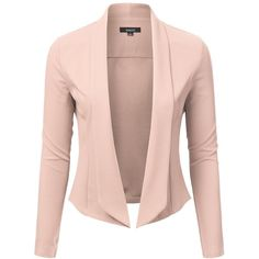 Open Front Shawl Collar Blazer (8 Colors) (94 BRL) ❤ liked on Polyvore featuring outerwear, jackets, blazers, pink blazer, pink blazer jacket, pink jacket, open front blazer and blazer jacket