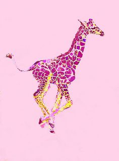 Pink Baby Giraffe Art Print by Jane Schnetlage. All prints are professionally printed, packaged, and shipped within 3 - 4 business days. Choose from multiple sizes and hundreds of frame and mat options. Giraffe Bedroom, Giraffe Decor, Giraffe Art, Baby Giraffe Tattoo, Elephant, Pink Giraffe, Cute Giraffe, Giraffe Drawing, Giraffes