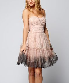 Another great find on #zulily! Sara Boo Blush Lace Ombre Strapless A-Line Dress by Sara Boo #zulilyfinds