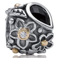 Pandora Jewelry, Pandora Bracelets, Pandora Charms, Bead Bracelets. Two Tone Dew Drops on Flower Charm with Black Onyx with Diamond. $140