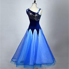 1979579e0c8ac8 Ballroom Dance Dresses Women's Performance Corduroy Paillette Splicing  Sleeveless High Dress