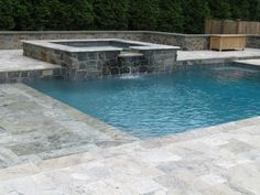 pool patio with spa pavers | Silver Travertine Mediterranean Pattern with PA fieldstone - web