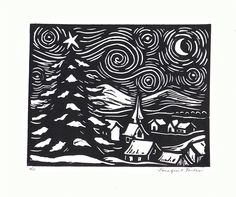 Starry Night Linoleum Block Print by JGTentas on Etsy https://www.etsy.com/listing/217210578/starry-night-linoleum-block-print