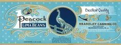 PEACOCK BRAND LIMA BEANS BRAKELEY CANNING CRATE LABEL PRINT REPRODUCTION by WONDERFULITEMS, http://www.amazon.com/dp/B0026MD91C/ref=cm_sw_r_pi_dp_781Yrb16P915M