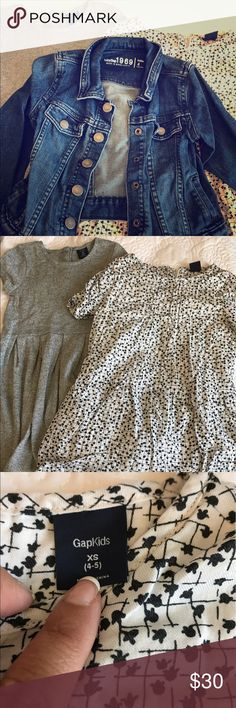 2 gap Outfits!  Barely worn Selling as a bundle. All gap brand. 2 dresses and a Jean jacket. Size 4 and 4t. Please look at pics for specifics. Smoke free home. GAP Dresses Casual