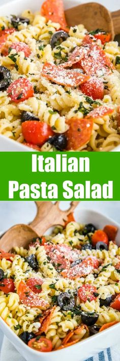 Italian Pasta Salad - a great cold pasta salad recipe that is perfect all summer long! It is full of pepperoni, fresh tomatoes, black olives and tossed in a zesty Italian vinaigrette. Easy Pasta Recipes, Pasta Salad Recipes, Cooking Recipes, Sausage Recipes, Side Dishes Easy, Side Dish Recipes, Dinner Recipes, Main Dishes, Blog Food