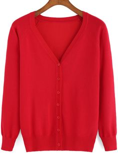 Red V Neck Buttons Knit Cardigan