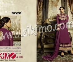 Zikimo Zubeda 4106 DarkPurple and Beige Embroidered Georgette Long Semi-stitched Party Wear/Daily Wear Long Straight Suit