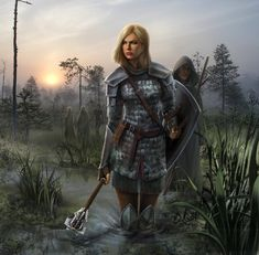 Warrior woman with Shield and Mace