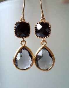 Onyx Black and Charcoal Grey Earrings. Black by LaceOrchid on Etsy, $23.00