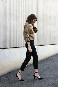 Boxy Neoprene Sweatshirt, Black pants, Black heels