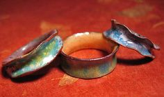 three enamel rings
