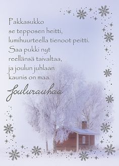 Anki :: Nro 5 Joulukortti Valokuvamaisema - Joulu Christmas Love, Christmas Greetings, Merry Christmas, Diy Cards, Christmas Cards, Christmas Decorations, Holidays And Events, Diy And Crafts, Card Making