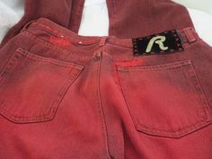 REPLAY JEANS WOMENS RED Vintage Destroyed Wash 30 x 32 NEW #replay #Relaxed