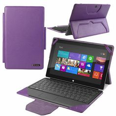 PUR Leather Stand Case w/ Keyboard Holder For Microsoft Surface Windows 8 Pro/RT
