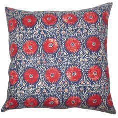 Xaria Floral Pillow Red Blue