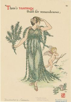 'There's rosemary, that's for remembrance.' Illustration by Walter Crane (1845-1915) from 'Flowers from Shakespeare's Garden'