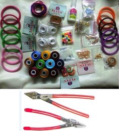 34pcs Silk Thread Jewelry making,rounds,Jhumka base,bangles,stones/ Quilling