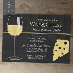 Wine and Cheese Invitations / House warming Party Chalkboard Invites // by greylein