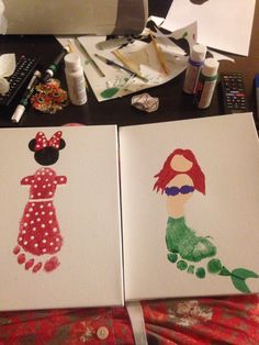 Minnie Mouse and Ariel footprint