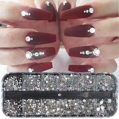 1 Case Crystal Strass Nail Art Rhinestone Decoration Mixed Size Clear AB Non Hotfix Flatback Gem for Nail Manicure Access Gem Nail Designs, Diamond Nail Designs, Diamond Nail Art, Acrylic Nail Designs, Nail Crystal Designs, Ongles Bling Bling, Bling Nails, Swag Nails, Bling Nail Art