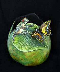 Frog and Butterfly gourd in green by Denise Ann Lown