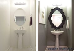 Strong color and a bold mirror make this small powder room pop! - this would be perfect for our powder room mirror.