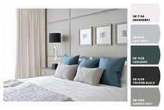 El color azul es pasivo y frío, características similares al color neutro. Podemos generar espacios frescos en apariencia, pero a la vez de gran elegancia y relajación. Con turquesa avivaremos un poco más la combinación. Se recomienda usar una tonalidad de gris suave.