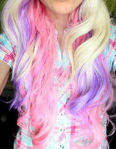 Blonde purple pink cotton candy hair