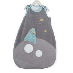 "Schlafsack 65cm ""Schlafplanet"" - Les Kinousses #baby #schlafsack #jungen #grau #blau #teddybaer #rakete #planeten #stern #schlafplanet #samt #kinousses"