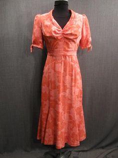 09033419 09033815 Dress Womens 1930s pink coral floral silk B36 W25.JPG