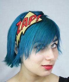 Metallic Headband, Zap Comic Headband, Gold and Red, Embroidered