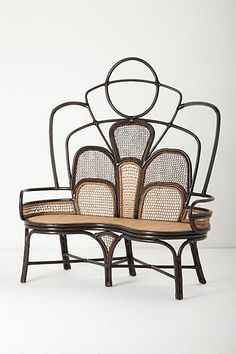 The lines, pattern, scale- so interesting! It's like a butterfly?! Deco/ Nouveau/ esque ?! Handwoven Boline Bench #anthropologie