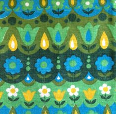 Beautiful vintage barkcloth fabric with tulips and daises :-) Green/blue/yellow  1960s/1970s