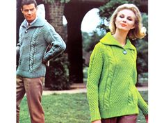 """Womens Mens Super Chunky Cable Sweater 60s Knitting Pattern PDF Ladies Mans 34 36 38 40"""" Large Collar Cable Jumper 34-40"""" Super Chunky Bulky Dog Coats And Sweaters, Pet Coats, Craft Patterns, Vintage Patterns, Knitting Patterns, Pdf Patterns, Knitting Magazine, Cable Sweater, Lace Making"""