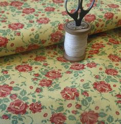 Antique Vintage Cottage Roses Cotton Fabric ~ Red Pink Green on Yellow 1940's
