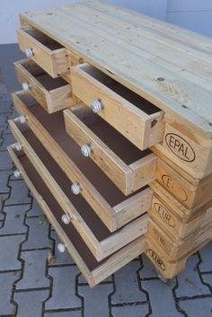 Palettenmöbel Gartenmöbel Europalette Sideboard Schubladen