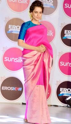 Elegant Kangana Ranaut in a saree and a contrast blouse. Indian Style, Indian Ethnic Wear, Saree Draping Styles, Saree Styles, Drape Sarees, Saris, Ethnic Fashion, Indian Fashion, Women's Fashion