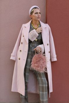 Halogen® x Atlantic-Pacific Long Wool Blend Trench Coat (Nordstrom Exclusive) Outfits Otoño, Plaid Outfits, Winter Outfits, Plaid Tights, Plaid Pants, Plaid Jacket, Atlantic Pacific, High Waisted Flares, Yellow Sweater