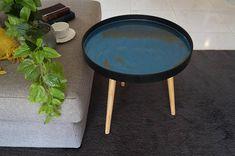 Australia Statement Side Table Aquamarine Blue and Gold Highlights, Resin Table, Aquamarine Blue, Antique Gold, Australia, Interior Design, Antiques, Etsy, Furniture
