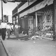 Not published in LIFE.  Scene after wartime race riots between blacks and whites which swept Detroit, Mich., in June 1943.