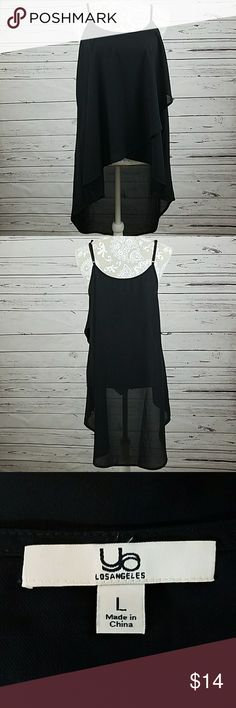 """Flowy Hi-low tank top Black flowey Hi-Lo tank top with adjustable straps.   Measures approx 18 1/2"""" from armpit to armpit, 17"""" from center front to hem and 29"""" from center back to hem. A4 Ya Los Angeles Tops Tank Tops"""