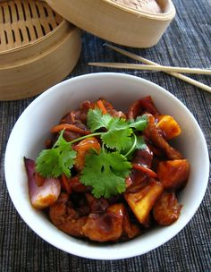 Sweet and Sour Pork with Pineapple - 4 Stars. A very flavorful dish. I wish the sauce had been a bit thicker (probably my fault that it wasn't). Next time I'll be trying it with a wok and sunflower oil instead of using substitutions.