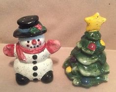 Julie Ueland Christmas Tree Snowman Salt And Pepper Shakers Decoration