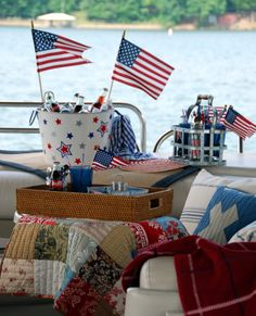 of July party on the pontoon boat for the lake 4th Of July Celebration, 4th Of July Party, Fourth Of July, Patriotic Party, Patriotic Decorations, Table Decorations, Fresco, Lake Party, Home Of The Brave