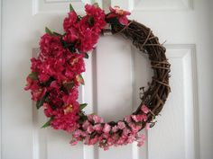 Handmade Round 14 Grapevine Wreath Carnations by AnjusCreations