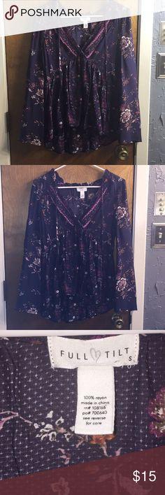 💜Full Tilt Floral Blouse💜 Purple, floral,  v neck, decorative ties, front is shorter than back but it's not cropped, NWOT Full Tilt Tops Blouses