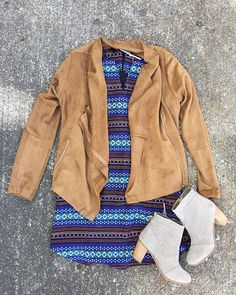 Add a little color to your wardrobe this fall! ✨ This dress is perfect to take from day to night with our new favorite suede jacket!  | Aztec dress $44 | Suede jacket $68 | @toms taupe booties $129 | #fall #newarrivals #OOTD #juneandbeyond #shoplocal